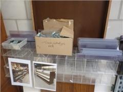 Store Shelves, Cash register, plastic boxes, paper